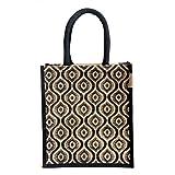 #4: H&B Jute Lunch bag (Pattern 1,black, Size: 11x9x6 inches )