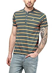 American Crew Men's Striped Henley Half Sleeves T-Shirt (Castle Rock & Orange)
