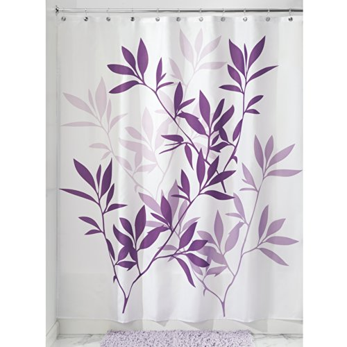 InterDesign Leaves Shower Curtain Purple 72 Inch By 72 Inch 789629803987