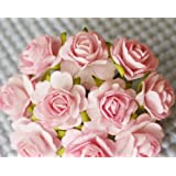 100 Pcs Hight Quality Pink Color #002 Mulberry Paper Flowers of Wedding Roses : 20mm.