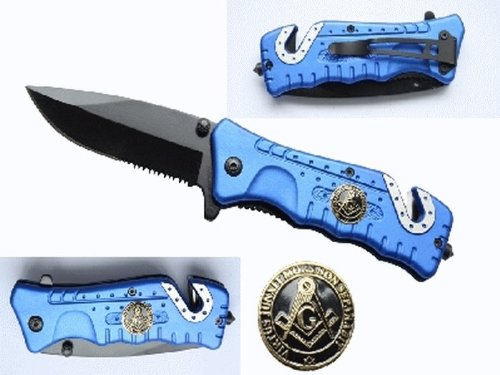 "3 1/4"" Blade Folding Knife. Blue Handle With Masonic Logo"