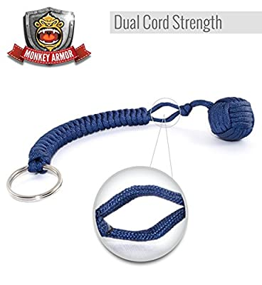 Dark Blue Monkey Fist Self Defense Keychain | 550lb Military Grade Tensile | Double Corded For Maximum Stability And Support | 1 Inch Steel Ball | Ultimate Survival Tool by Monkey Armor