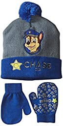 Nickelodeon Little Boys\' Paw Patrol Chase Hat and Mitten Set, Blue, One Size