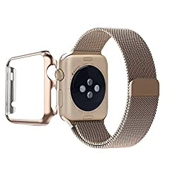 Apple Watch Band, Biaoge Steel Milanese Loop Replacement Wrist Band with Plated Case for Apple Watch (Update Version For Apple Watch Sport Gold 38mm)