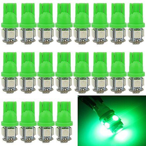 EverBright 20-Pack Green T10 194 168 2825 W5W 5050 5-SMD LED Bulb For Car Replacement Interior Lights Clearance Wedge Dome Trunk Dashboard Bulb License Plate Light Lamp DC 12V (T10 Led Bulb Green compare prices)