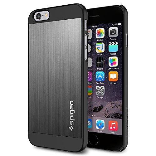 iPhone 6 ケース, Spigen® [ アルミパネル ] Apple iPhone 4.7 (2014) アルミニウム フィット The New iPhone アイフォン6 (国内正規品) (スペース・グレー SGP10948)
