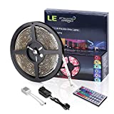 LE 12V DC Waterproof RGB LED Strip Light Kit, Colour Changing, 150 Units 5050 LEDs , Remote Controller and Power Adaptor Included, LED Tape, Pack of 16.4ft/5m