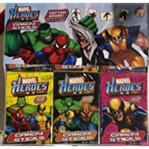 Marvel Super Hero Candy Sticks w/Glow in the Dark Tattoo 30 Packs