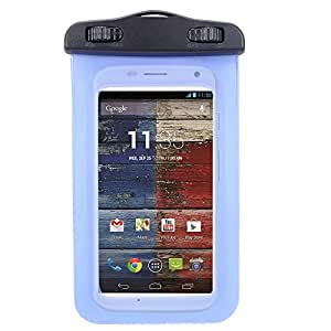 Universal Protective Waterproof Bag / Pouch / Cover / Case for Motorola Moto X XT1058 / DROID Turbo / Moto G 2nd with Responsive Screen Protector Windows and Strap Fit up to 5.5 Inch Ios Windows Android Smart Phone (Blue)