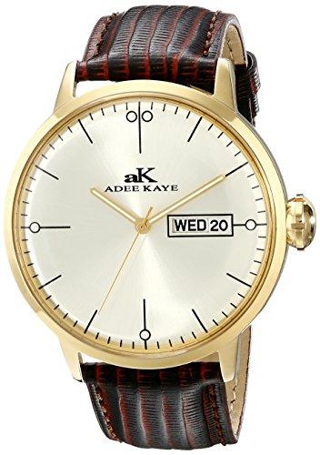 Adee Kaye Vintage AK2226-MG 51.04x44.86mm Stainless Steel Case Brown Calfskin Mineral Men's Watch