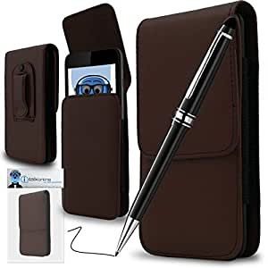 Brown PREMIUM PU Leather Vertical Executive Side Pouch Case Cover Holster with Belt Loop Clip and PRO Captive Touch Tip Stylus Pen with Rubber Tip with Roller Ball Pen For Nokia C3