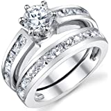Ultimate Metals Co. Sterling Silver Women's Bridal Set Wedding Ring Engagement Bands With Cubic Zirconia CZ 0.75 Round Center Stone