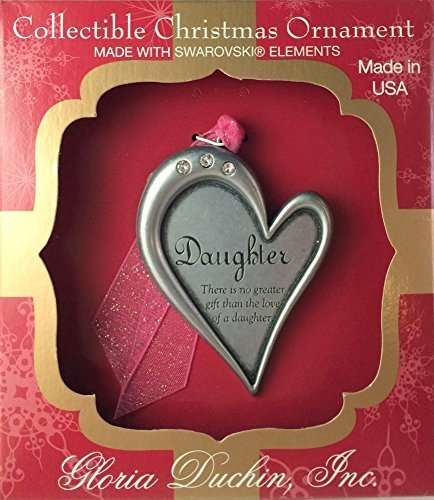 Pewter Heart Daughters Christmas Ornament or Wall Decoration With Swarovski Crystals by Gloria Duchin