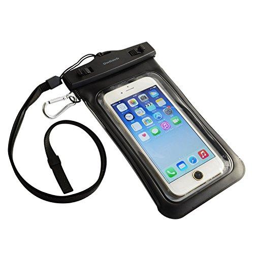 オウルテック 防水ケース iPhone6/6Plus等 スマートフォン対応 ネックストラップ カラビナ付 ブラック OWL-MAWP07BK