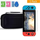 Nintendo Switch Case,Tempered Glass Screen Protector,Protective Hard Portable Travel Carry Case Shell Pouch for Nintendo Switch Console and Accessories