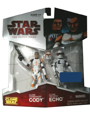 Buy Low Price Hasbro Star Wars 2009 Clone Wars Animated Exclusive Action Figure 2-Pack Clone Commander Cody and Clone Trooper Echo (B002O6EXK6)
