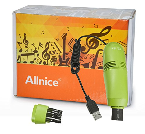 Allnice® Green Mini Usb Led Keyboard Vacuum Cleaner Brush Dust Collector For Computer Laptop Notebook Cell Phone Camera Monitor