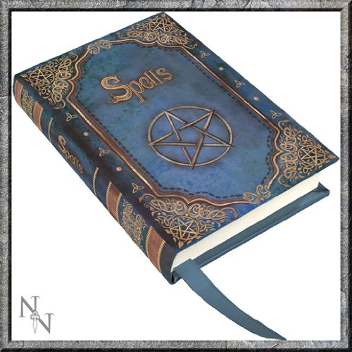 "Luna Lakota Pentagram Spells Blue 4"" Mini Hard Cover Embossed Blank Journal Book - 1"