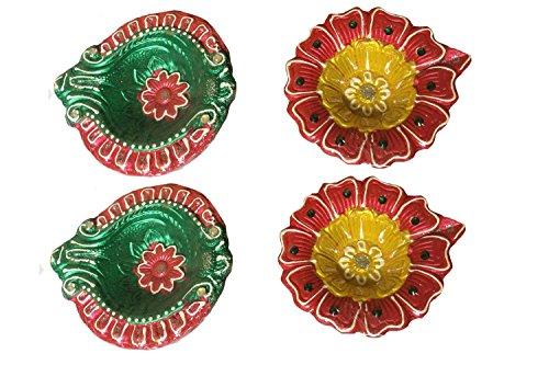 Diwali Diya-Lamp-Diva Hand Painted Clay Multicolored Set of 4