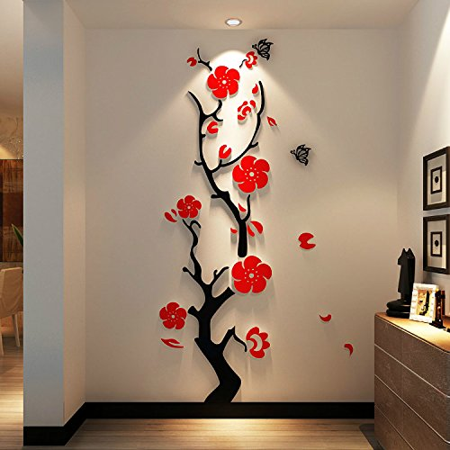 Alrens(TM)Creative Chinese Style Plum Flowers Stereoscopic 3D Acrylic Wall Stickers Entrance Study Bedroom Living Room Wall Decor Self Adhesive Mural Decal Home Decoration