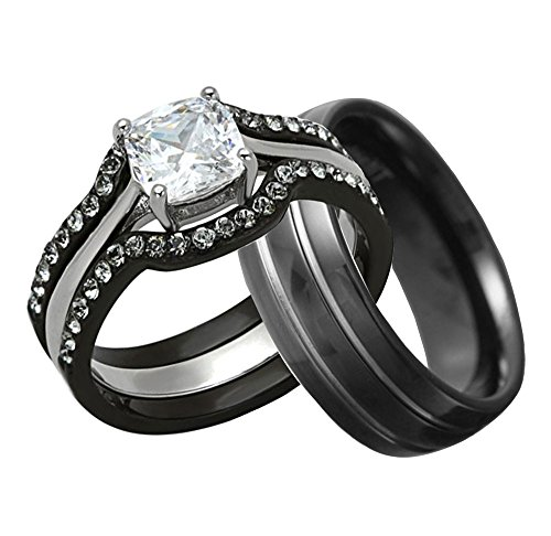 His And Hers Wedding Ring Set Cushion Shape Cubic Zirconia Black Stainless Steel Titanium 4 Pcs (His Her Wedding Rings compare prices)