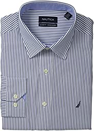 Nautica Men\'s Poplin Stripe, Navy, 15x32/33