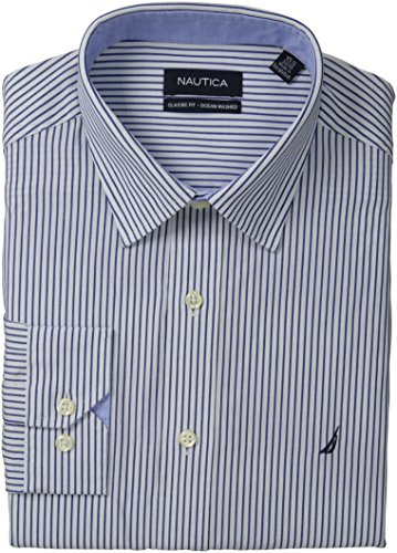 Nautica Men'S Poplin Stripe, Navy, 15.5X34/35