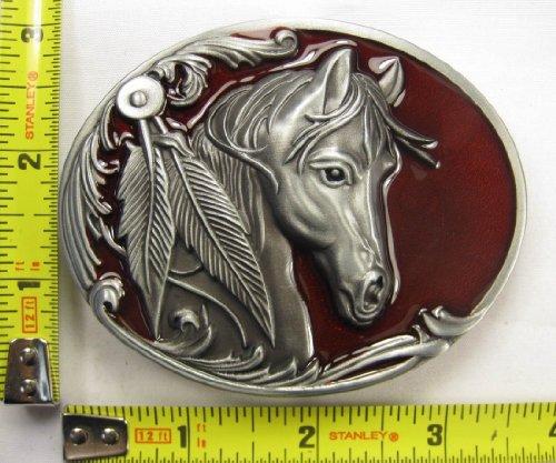 Horse Red Belt Buckle Western Cowboy Cowgirl