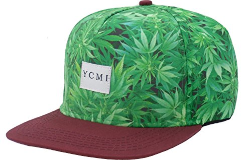 Ycmi--Adjustable-Marijuana-Weed-Leaf-Snapback-Cap-Hat-for-Men-Baseball-Cap-Green