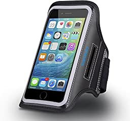 iPhone 6 Plus Armband, CellEver Water Resistant Sports, Running and Exercise Gym Sportband (5.5 inch) [Key Holder + Credit Card Slot] for Apple iPhone 6 Plus & 6S Plus - Jet Black