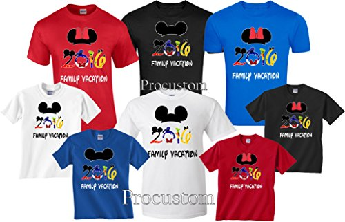 Disney Family Vacation 2016 T-Shirts Matching Cute Mickey T-Shirts (XX-Large Adult Minnie, Red) (Custom Shirts For Men compare prices)