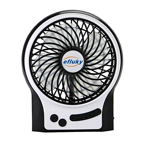 Efluky Mini USB 3 Speeds Rechargeable Portable Table Fan, 4.5-Inch, Black (Usb Mini Portable Fan compare prices)