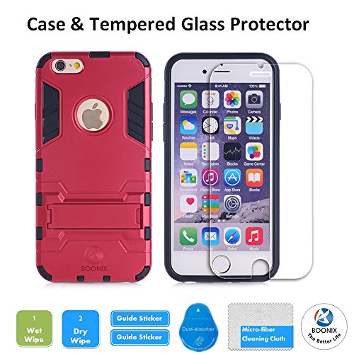 iPhone SE Protective Case with Tempered Glass Screen Protector, Shockproof Bumper Shell with Kickstand For Apple iPhone SE 2016 & iPhone 5S 5 by BOONIX[Red]