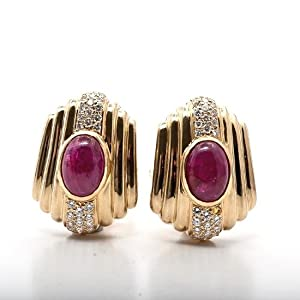 9.00 cts Estate Ruby Cabochon Diamond Gold Earrings