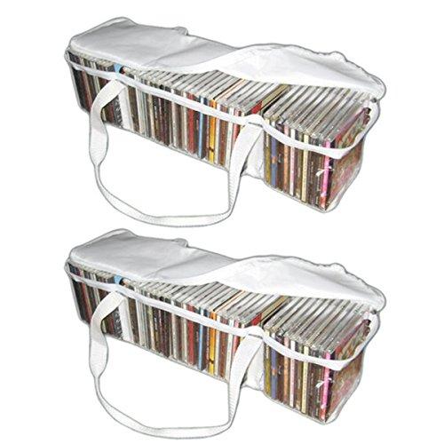 Evelots Set Of 2 CD Portable Zippered Clear Vinyl Storage Ba