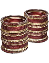Hint Of A Sparkle Bangle Set- Maroon Lacquer Wedding Bangles For Women