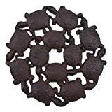 Baby Turtles Decorative Stepping Stone Rust Brown Cast Iron 10.25