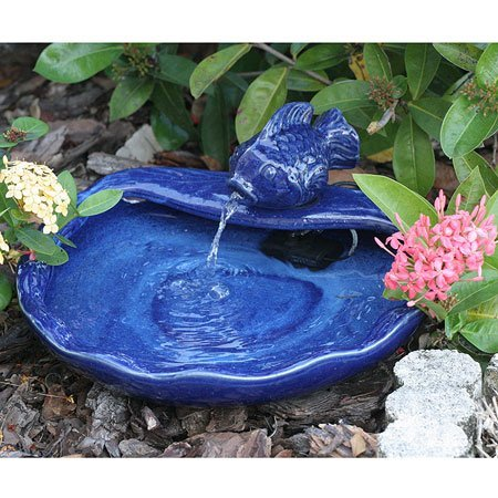 Smart Solar 21372R01 Ceramic Solar Koi Fountain, Blue Glazed Finish