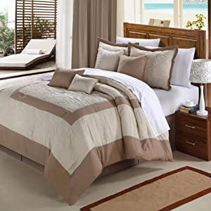 Chic Home Seashell 8-Piece Comforter Set, Queen, Taupe