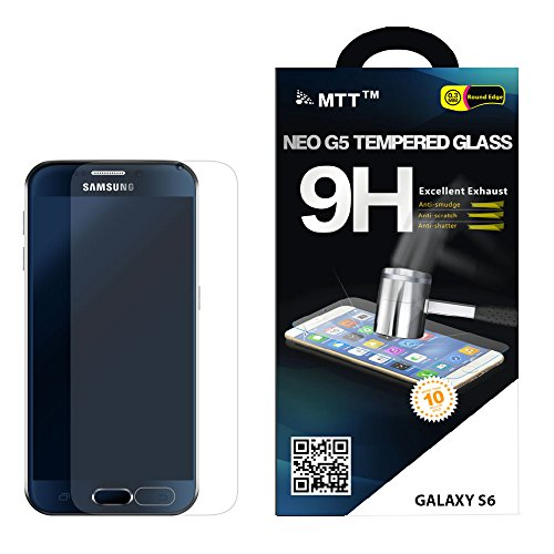 MTT® NEO G5 Samsung Galaxy S6 Premium Tempered Glass Screen Protector Guard - Protect Your Screen from Scratches and Drops - Maximize Your Resale Value - 100% Clarity and Touchscreen Accuracy