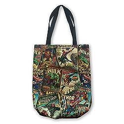 BB Designs Marvel Retro Comic Red Canvas Shopper Tote Bag