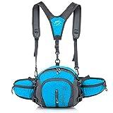 ウエスト と ショルダー でしっかり支える 軽量 & コンパクト リュック バッグ / ランニング 登山 釣り ウィンター スポーツ に (ブルー)