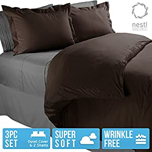 Nestl Bedding Duvet Cover, Protects and Covers your Comforter / Duvet Insert, Luxury 100% Super Soft Microfiber, Queen Size, Color Chocolate Brown, 3 Piece Duvet Cover Set Includes 2 Pillow Shams