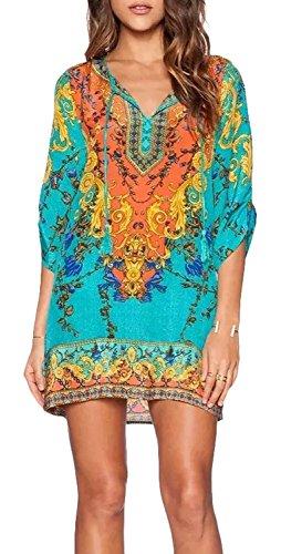 HIMONE-Women-Bohemian-Neck-Tie-Vintage-Printed-Ethnic-Style-Summer-Shift-Dress