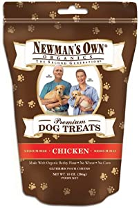 Newman's Own Organics Premium Dog Treats, Chicken, Medium Size, 10-Ounce Bags (Pack of 6)