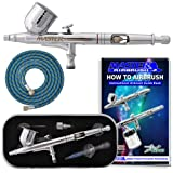 Master Airbrush® Brand G233-SET Multi-Purpose Precision Dual-Action Gravity Feed Airbrush Pro Kit, Now Includes a (FREE) 6 Foot Air Hose and a (FREE) How to Airbrush Training Book to Get You Started, Published Exclusively By TCP Global.