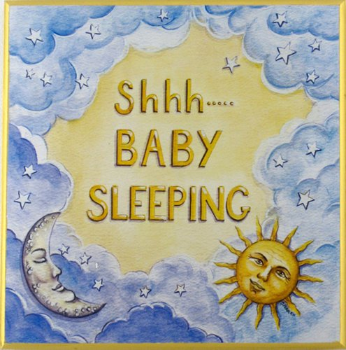 The Kids Room by Stupell Shhh Baby Sleeping Sun and Moon and Stars Square Wall Plaque