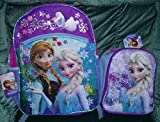 Disney Frozen Large Backpack with Elsa Frozen Lunch Box (2 Bonus Folders Included too)