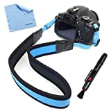 BIRUGEAR Blue Anti-Slip Soft Neoprene Camera Should/Neck Strap + Lens Pen for Olympus E-M10, SP-100, Stylus 1, E-M1, E-M5, SP-620UZ, SP-810UZ, SP-610UZ, E-5, E-P1, E-P2, E-PL1 ; Panasonic DMC-GM1, GX7, G6, GF6, LZ30, GH3, LZ20, FZ62, FZ200, G5, LX7 ; Sam