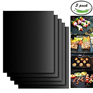 Aoocan Grill Mat Set of 5- 100% Non-stick BBQ Grill & Baking Mats - FDA-Approved, PFOA Free, Reusable and Easy to Clean - Works on Gas, Charcoal, Electric Grill and More - 15.75 x 13 Inch Aoocan